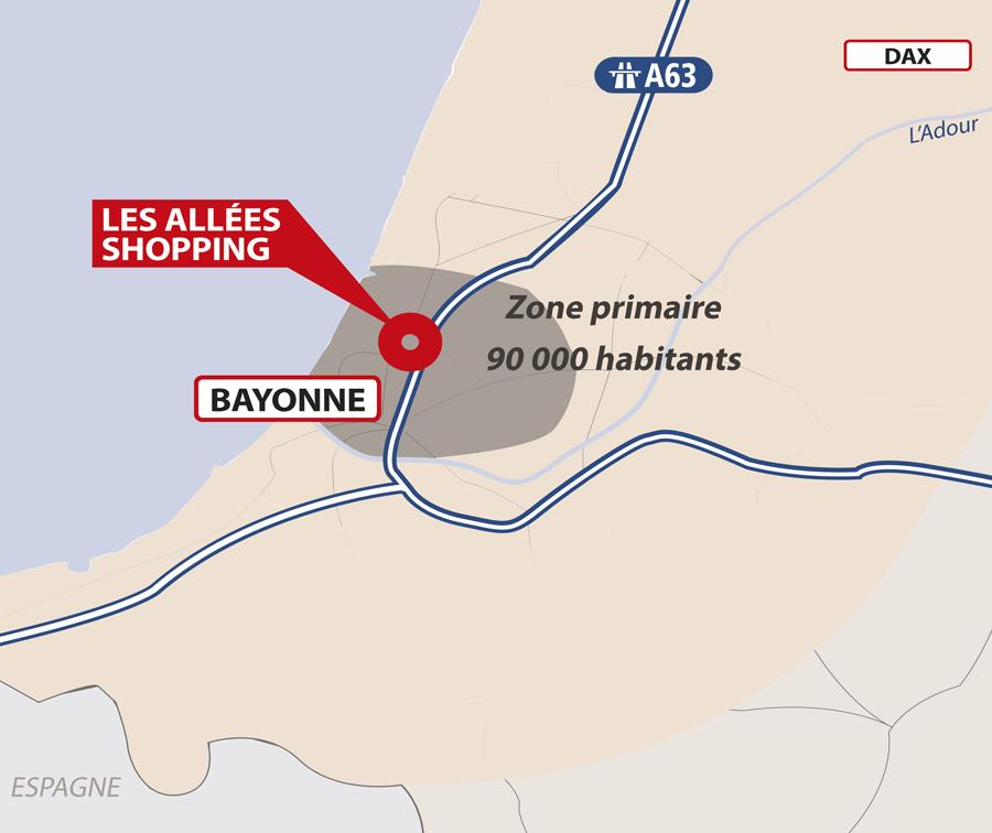 Carte zone primaire Allées Shopping